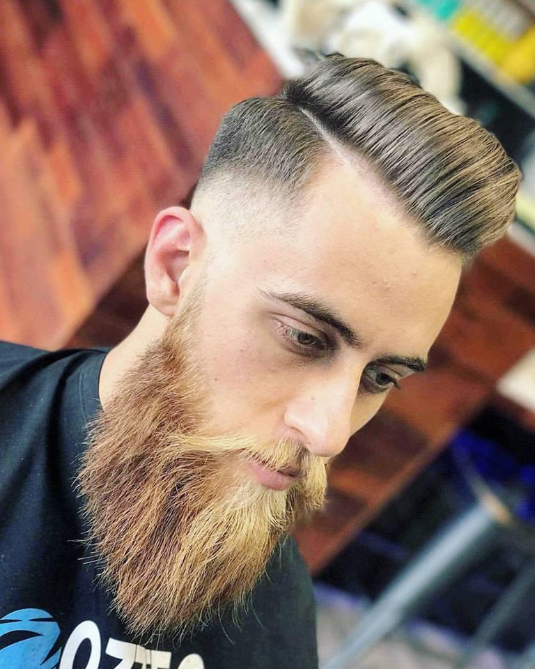 medium fade haircut beard trim